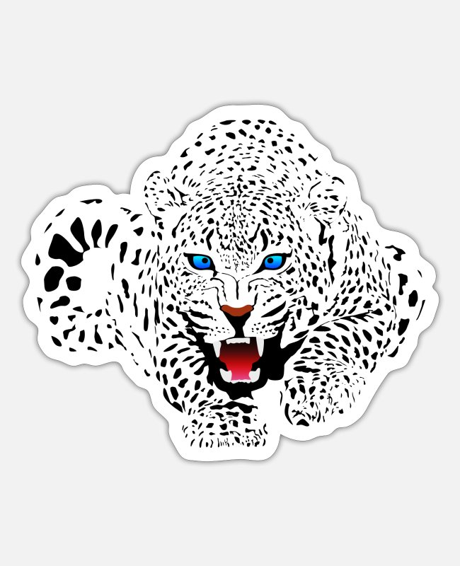 Graphic Art Stickers - Jaguar attack - Sticker white matte
