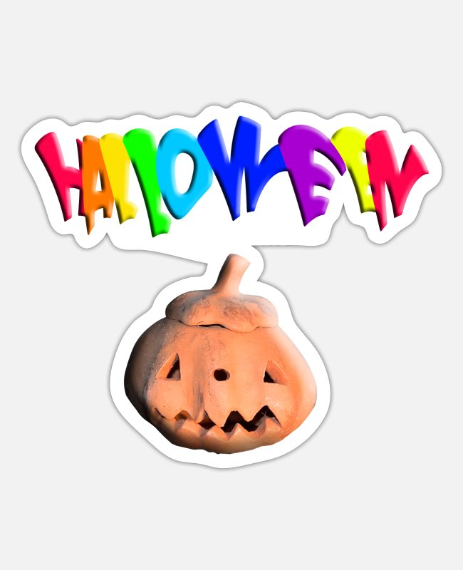 Buy Stickers - Halloween funny pumpkin head GIFT Black T-shirt f - Sticker white matte