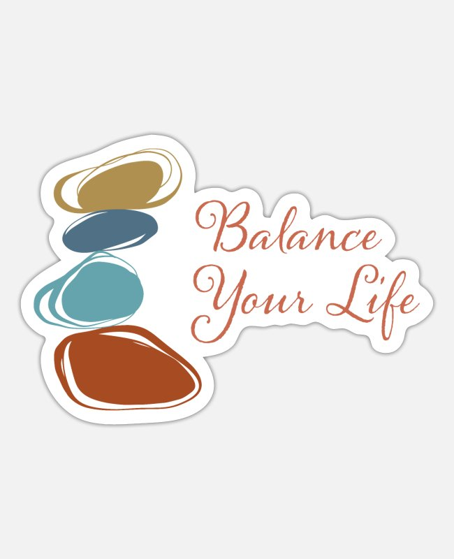 Nature Stickers - Balance Your Life - Zen Rock Balancing - Sticker white matte
