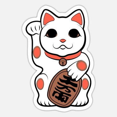 Good Japan Cat Figurine | Maneki-neko | Good Luck - Sticker