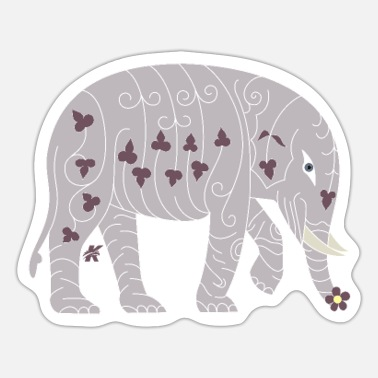 Tradition Traditional Elephant Floral - Sticker