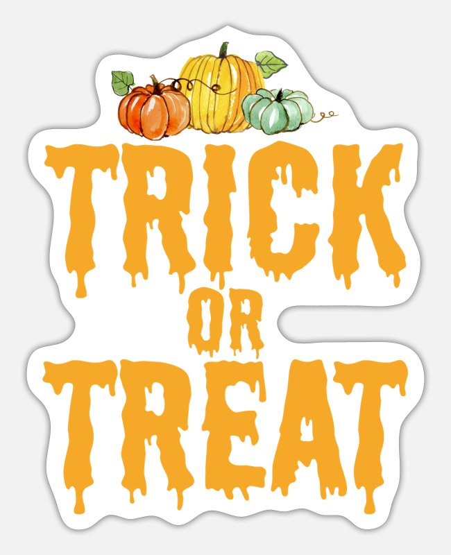 Treats Stickers - Trick or Treat Halloween Pumpkin - Sticker white matte