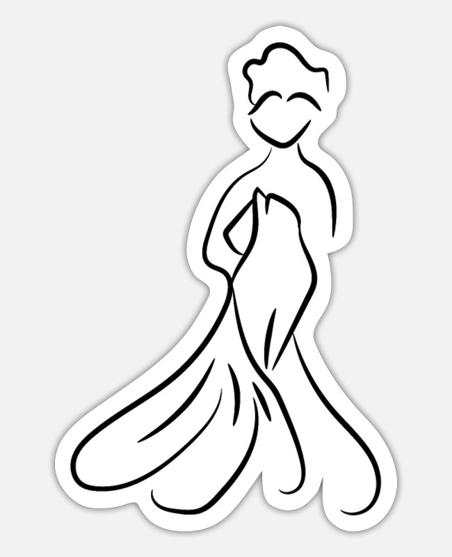 Wedding Day Stickers - Bride New Wedding Dress - Sticker white matte
