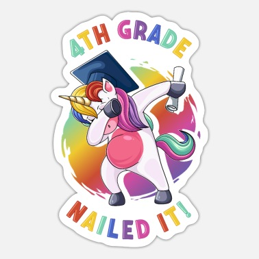 Grad Dab Dabbing 4th Grade Unicorn Graduation Nailed It - Sticker