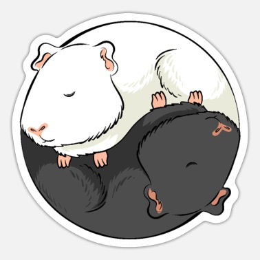 Month Yin and Yang Guinea Pig Opposites Design - Sticker