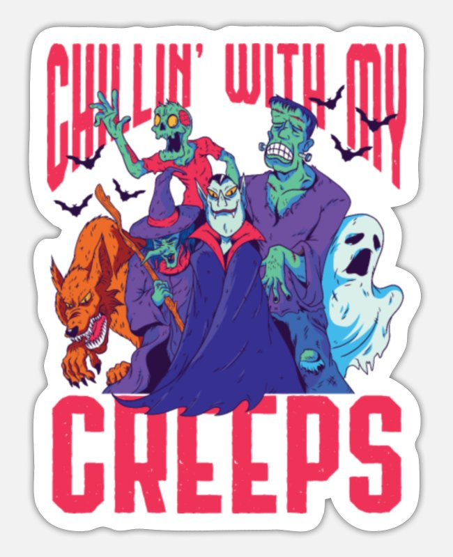 Friends Stickers - Creeps Halloween Horror Movies - Sticker white matte