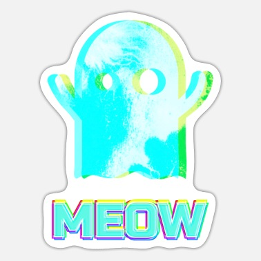 Meow Cute Ghost - Meow - Sticker