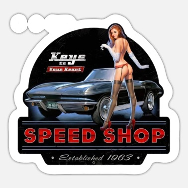 Corvette Speed Shop car Pin Up Corvette Stingray - Sticker