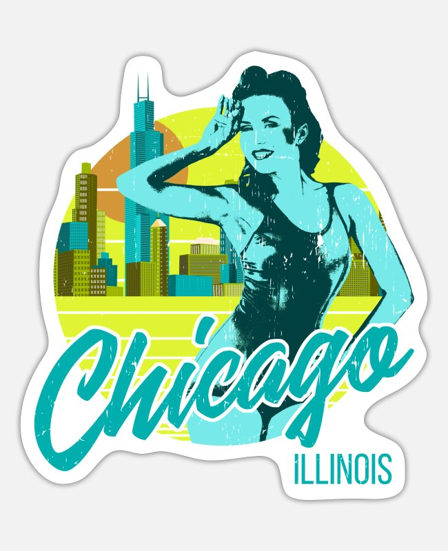 South Side Stickers - Chicago Yellow City Girl Vintage - Sticker white matte