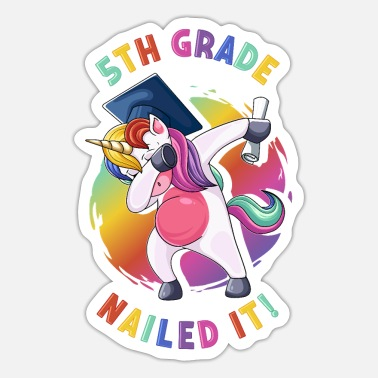 Grad Dab Dabbing 5th Grade Unicorn Graduation Nailed It - Sticker