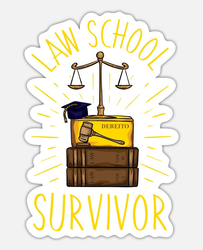 Plaintiff Stickers - Law School Survivor - Sticker white matte