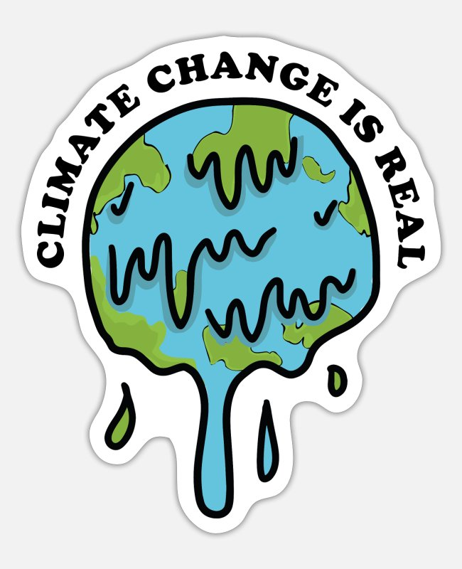 Earth Stickers - climate change is real - Sticker white matte