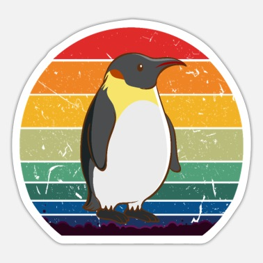 Retro Style Vintage Retro Penguins Sunset 70s 80s 90s Penguins - Sticker