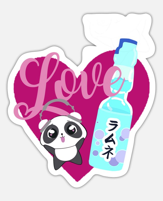 Love Heart Stickers - ramune soda kawaii design - Sticker white matte