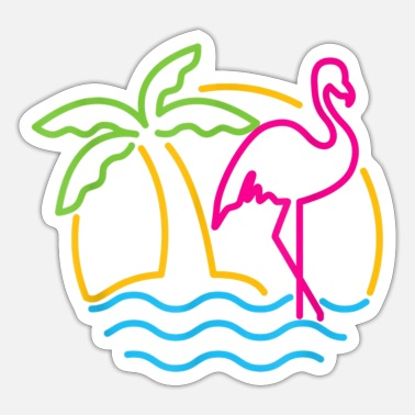 80s 80s Vintage Miami Retro Neon Pink Flamingo - Sticker