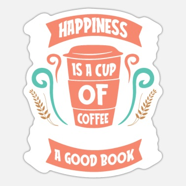 Book Happiness Cup of Coffee snd Good Book - Sticker