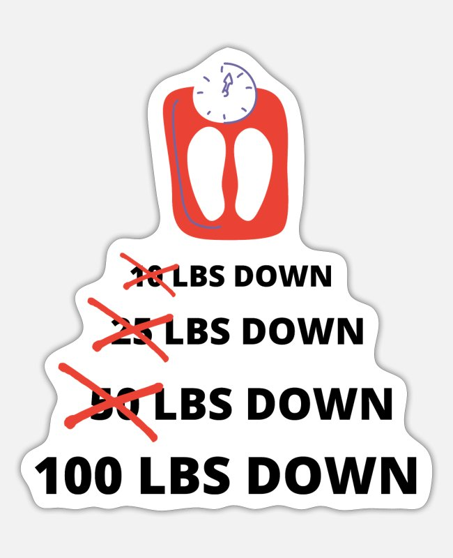 Weights Stickers - Funny Weight Loss, 100 Lbs Down, Lose Weight Worko - Sticker white matte