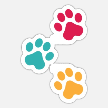 Print colorful paw prints - Sticker