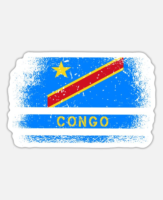 Kongolese Stickers - Congo Vintage Flag & Gift Idea - Sticker white matte
