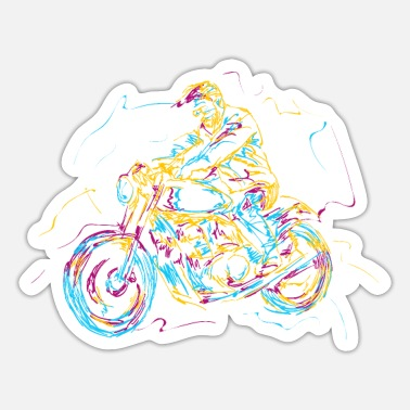 Motorcycles Motorcycle Bike Motocross Motorcyclist Colorful - Sticker