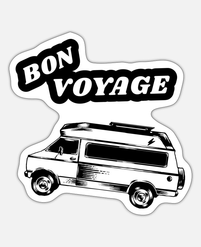 Riding Stickers - Bon Voyage travel camp van gift family nature - Sticker white matte