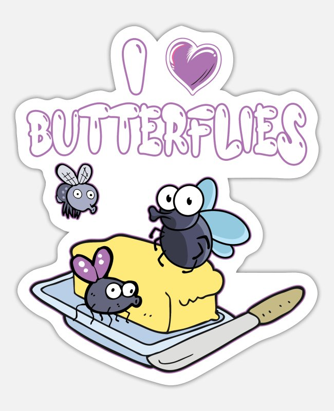 Trendy Stickers - I Love Butterflies - Sticker white matte