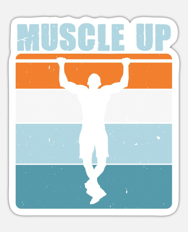 Training Stickers - Muscle Up dumbbell bar Calisthenics gift idea - Sticker white matte