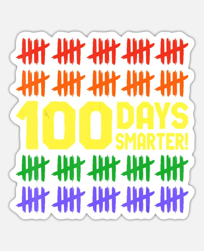 Superhero Stickers - 100 Days Smarter Counting Hash Marks Days of - Sticker white matte
