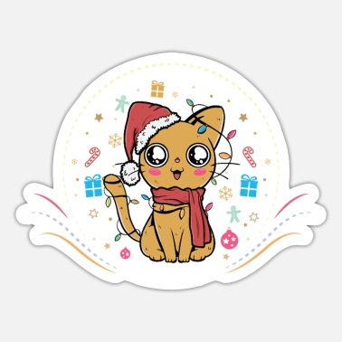 Cat Christmas Christmas Cat - Sticker