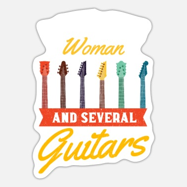 Instrument Funny Guitar Love One Woman Vintage Music Gift - Sticker