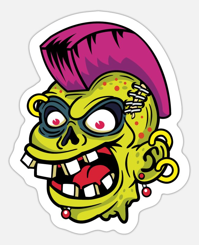 Brain Stickers - Comic - Zombie Punk Iroquois - dark - Sticker white matte