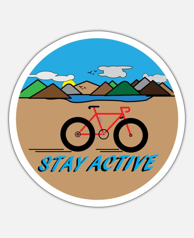 Training Stickers - Stay Active BICYCLE with landscape - Sticker white matte