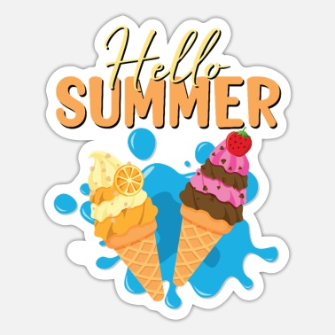 Summer Hello Summer Ice Cream Design for Summertime Fans - Sticker