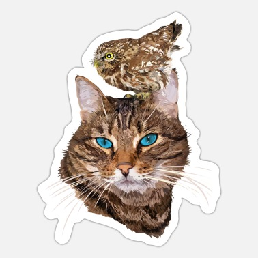 Owl Cat and owl - Sticker
