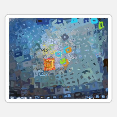 spreading blue square abstract - Sticker