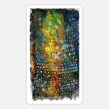 movement of red uneven square | abstract painting - Sticker