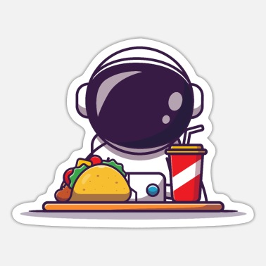 Astronaut Astronaut Eating Tacos Lunch Space - Sticker