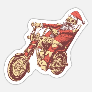 Death Skeleton Santa on a Motorbike death rider xmas - Sticker