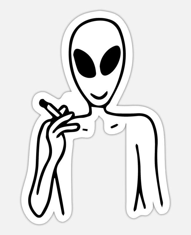Cigarette Stickers - alien smoke - Sticker white matte