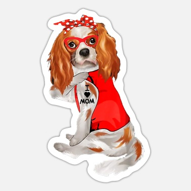 Cavalier King Charles Spaniel Dog Mom Cavalier King Charles Spaniel Dog Tattoo I Love - Sticker