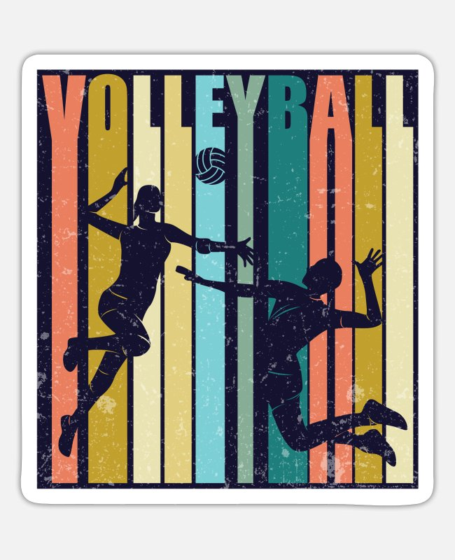 Volleyball Grandpa Stickers - Retro Volleyball Player Setter Hitter Athlete - Sticker white matte