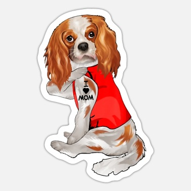 Cavalier King Charles Spaniel Dog Mom Funny cavalier king charles spaniel Dog I Love - Sticker