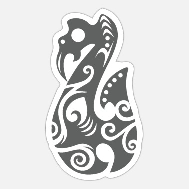 Haka Maori Manaia Grey Polynesian Tribal Tattoo Gift - Sticker