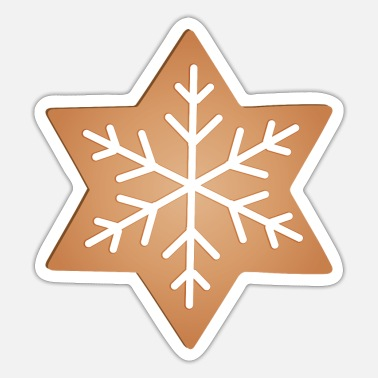 Ornament big gingerbread star with snowflakes ornament - Sticker