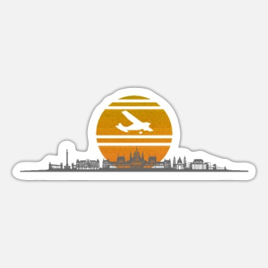 Danube Budapest Skyline Sunrise Retro Plane Hungary - Sticker
