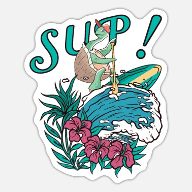 Surfing SUP Surfing Stand Up Paddle TURTLE paddling - Sticker