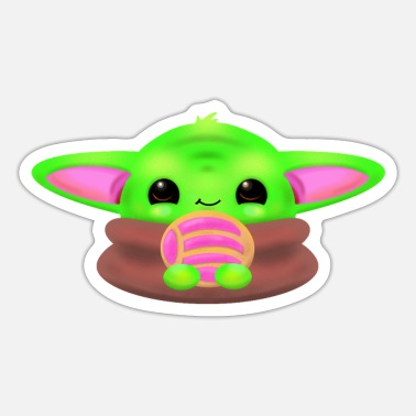 Baby Yoda Masks The Child eating a Concha - Sticker