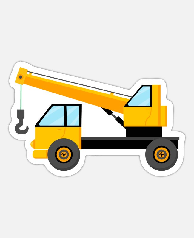 Excavator Stickers - Crane Truck for kids loaded with earth - Sticker white matte