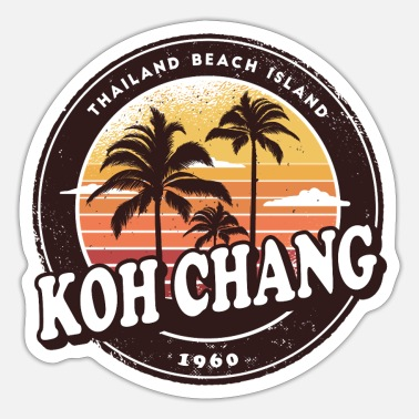 Koh Chang Koh Chang Palm Trees and Sun Design Gift - Sticker
