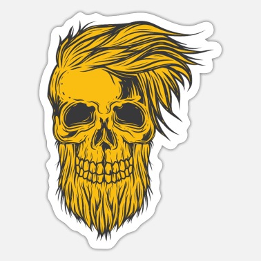 Hairstyle Skull with hairstyle and beard - Sticker